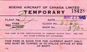 Temporary Pass #18428, Boeing Aircraft Of Canada Limited, PU-1945