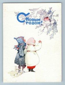 1960 LITTLE BOY GIRL BULLFINCHES Snow Winter Happy New Year Soviet USSR Postcard