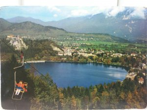 Vintage Postcard Panoramic View of Bled Slovenia Jugoslavija Showing Chairlift