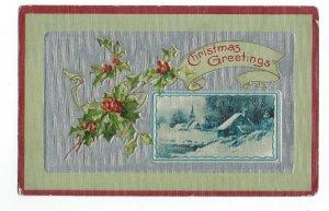 C.1907-15 Christmas Greetings Church, Snow, Holly Embossed Postcard