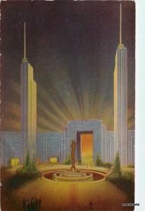 1939 Metallic Courtyard Transportation Building Gemloid postcard 3278 New York