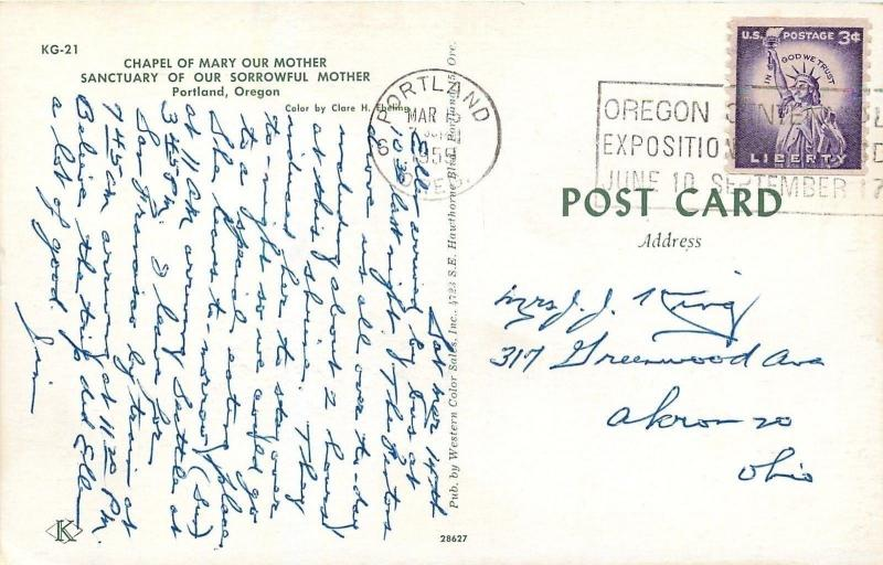 Portland Oregon~Chapel of Mary our Mother~Sanctuary of our Sorrowful Mother~1959