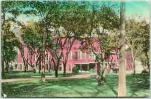 FREMONT, Nebraska Postcard Fremont Normal College HAND-COLORED / 1908 Cancel