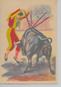 Portugal bullfight matador bull attached silk artist signed antique pc Z31019
