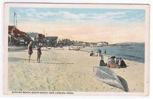 Ocean Beach Scene New London Connecticut 1920c postcard