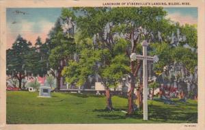 Mississippi Biloxi Landmark Of D'Iberville's Landing 1939 Curteich