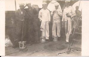 RPPC USS Kearsage 1916 WWI US Navy Sailors at Work, Battleship Great White Fleet