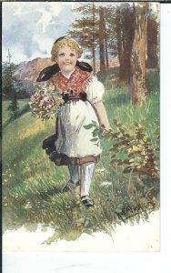 AX-115 - Mountain Girl Artist Signed Postcard Golden Age 1907-1915 Gebirgskinder