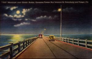 Florida Tampa Moonlight Over Gandy Bridge 1951 Curteich