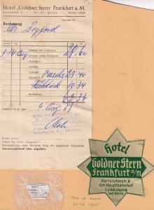 Hotel Goldner Stern Frankfurt AM German 1950s Receipt