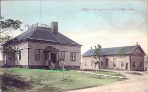 1909 Egypt Massachusetts Postcard: High School &Town Hall, German Printing