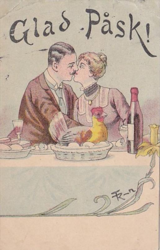 Happy Easter Glad Pask Romantic Couple Kising 1914