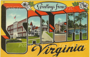 Old Postcard, Salem Virginia Large Letter State Souvenir with Magnolia Blossoms