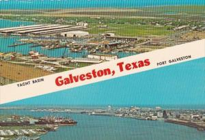Texas Galveston Aerial View Of Yacht Basin and Port
