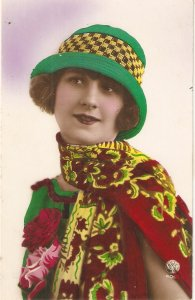 Pretty smilling lady. Fantasy dress and hat Nice old vintage French postcard