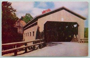 Charlemont Massachusetts~Covered Bridge~Rail Fence~Barn~1950s