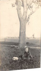 G45/ Lafargeville New York RPPC Postcard 1917 Pretty Girl Lawn Tree