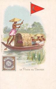 La Poste au Deccan India Indian Natives Boat, Postmen Chromo Postcard