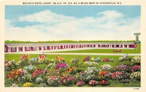 Statesville North Carolina~Bolick's Hotel Court~Colorful Flower Garden~1940s PC