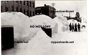 RPPC, Snow on East 1st St, Oswego NY