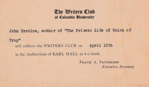NEW YORK, PU-1926; The Writers Club of Columbia University