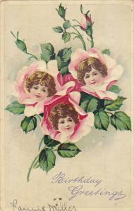 Birthday Greetings Pink Roses With Girls Faces 1918