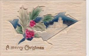 Christmas Landscape Scene and Holly