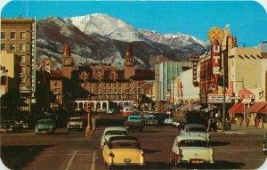 Autos Bus Colorado Springs Colorado 1950s Pikes Peak Postcard Sanborn 12317