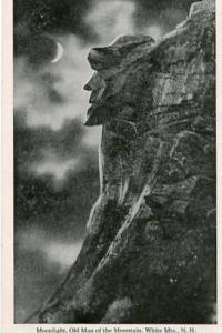 NH - White Mountains, Old Man of the Mountain in the Moonlight