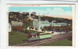 P1308 1930 postcard quebec canada used rail road station birds eye view