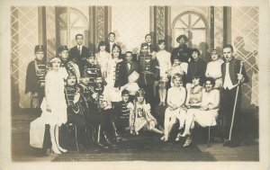 Social History Postcard marching band&elegant ladies dancers vintage outfits