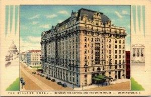 Vtg 1940 Willard Hotel Between Capitol White House Washington DC Linen Postcard