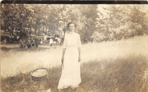 1910s RPPC Real Photo Postcard Woman With Drum & Drum Sticks prob Athens Ohio