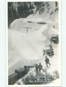 Pre-1950 rppc MANY SNOW PLOWS San Bernardino Mountains By Big Bear Lake CA i5946