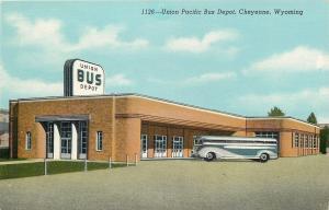 Cheyenne Wyoming~Union Pacific Bus Depot~ART DECO Station & Bus~1941 Linen PC
