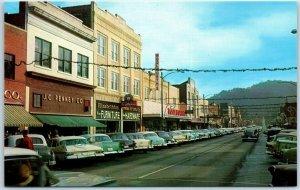 Elizabethton, Tennessee Postcard MAIN STREET Downtown Scene 1950s Cars Unused