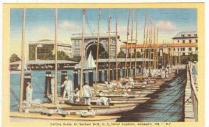 Sailboat Drill Preps, Naval Academy, Annapolis, Maryland, 30-40s