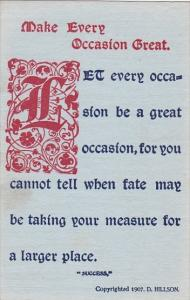 Motto Postcard Make Every Occasion Great Copyright Hillson