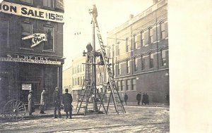 Waterville ME Busy Street Corner Storefront Street Light? Real photo postcard
