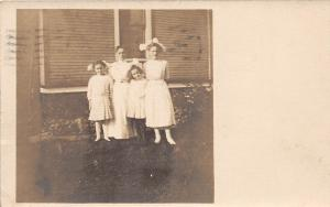 Ohio Postcard Real Photo RPPC 1913 WARREN Kids Dresses