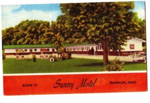 Old FRANKLIN Ohio Postcard SUNNY MOTEL Roadside Warren