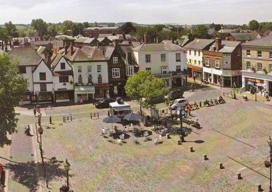 The Market Place Hitchin Hertfordshire Stunning Aerial Postcard