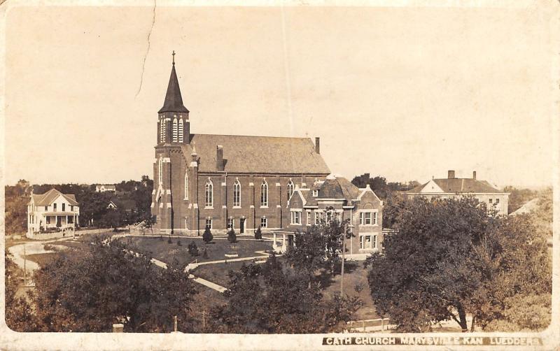 Marysville KS Birdseye of Old St Gregory Catholic Church~2 Huge Homes RPPC 1917