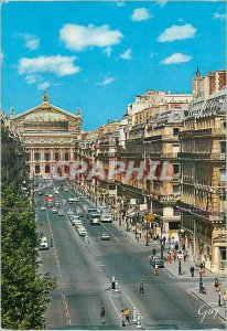 Modern Postcard Paris and Wonderland Avenue and the theater of the Opera