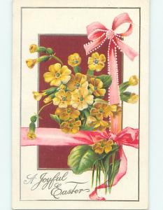 Pre-Linen easter BEAUTIFUL YELLOW FLOWERS WITH PINK RIBBON hr2406