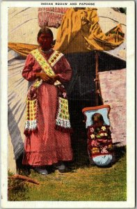 Vintage 1952 Native Americana Postcard Indian Squaw and Papoose Kropp Linen