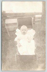 RPPC Baby w/Blonde Furled Eyebrows Ponders: Do bees get wax in their ears? c1910