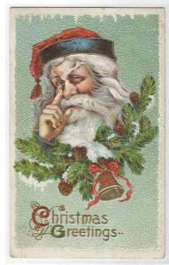 Santa Tapping Nose Christmas 1912? postcard