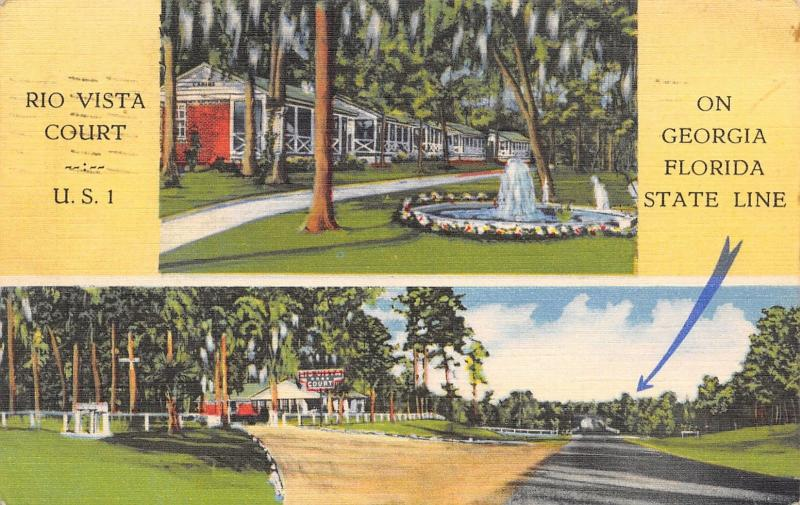 Hilliard Florida~Rio Vista Motor Court Motel~Roadside US 1~1945 Linen Postcard