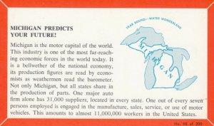 MICHIGAN, 1940-60s; Fact Card, No. 98 of 200, Michigan is the motor capital o...